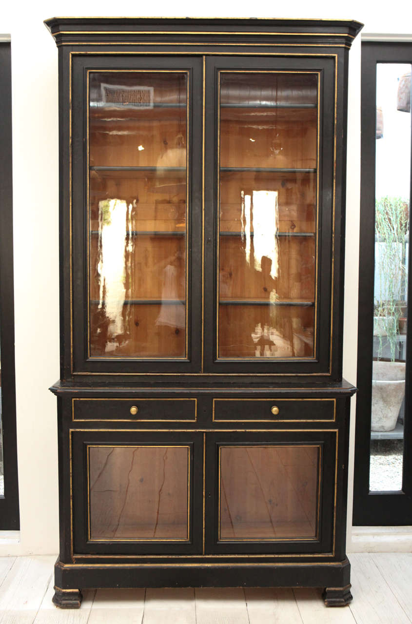 trio of hekman tall campaign cabinets in patchwork burl for
