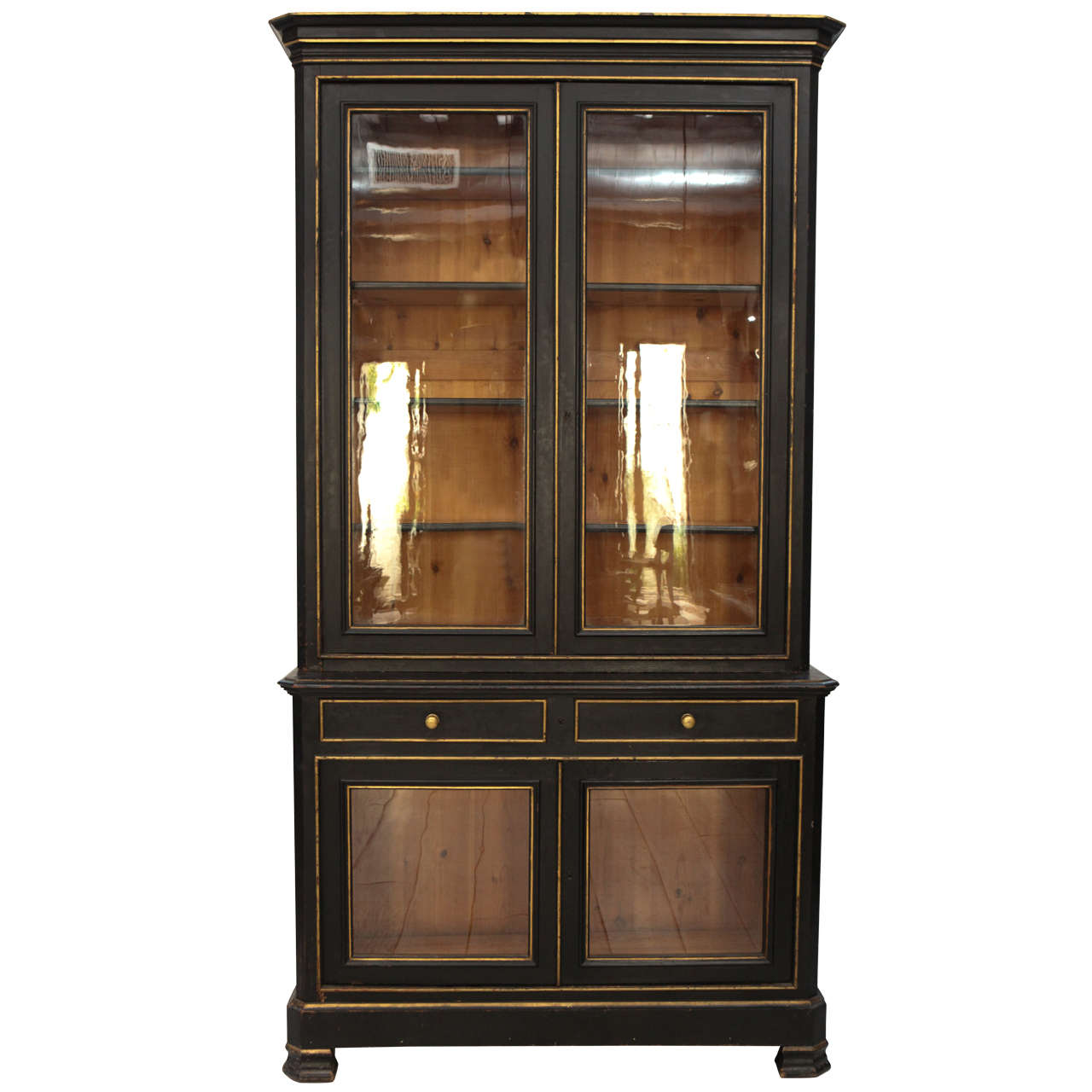 Tall Napoleon III Ebonized China Cabinet at 1stdibs