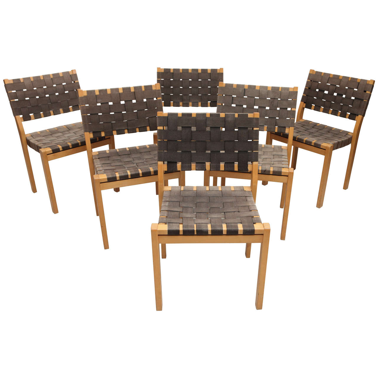Set Of Six Alvar Aalto Woven Seat Dining Chairs For Sale