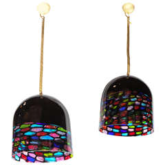 Beautiful Pair of Glass Pendants by Leucos
