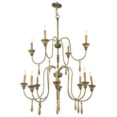 French Wrought Iron Green Painted Four Arm Chandelier For
