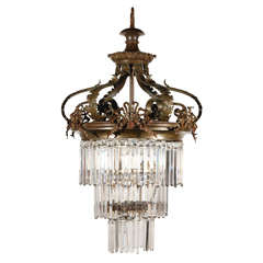 Victorian Crystal and Bronze Chandelier