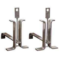 Jean Paul Creations Pair of Brushed Steel 1970s Andirons
