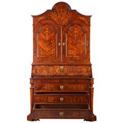 Splendid Italian  Walnut, Parquetry Bureau Cabinet  17' century
