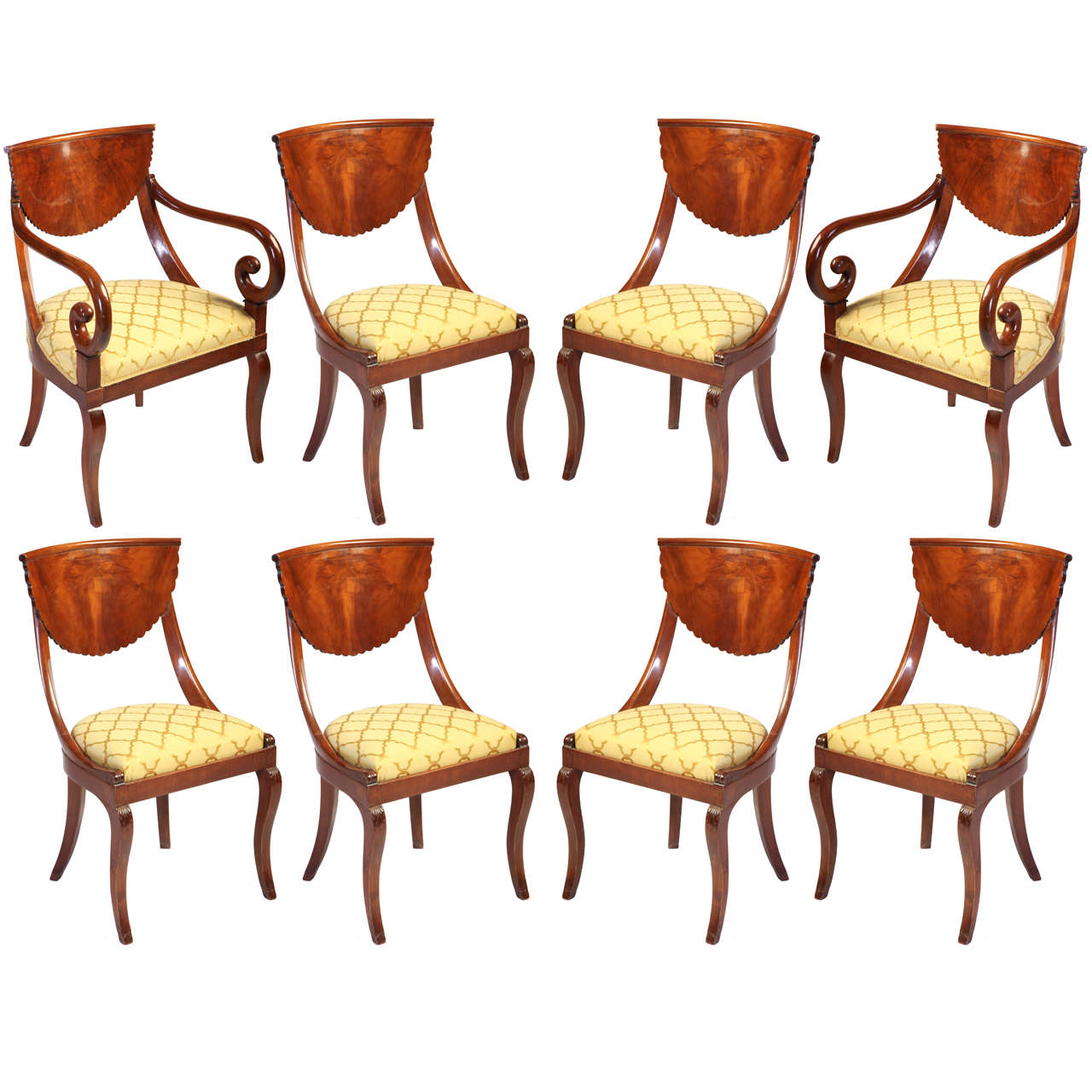 Fine Set of  Italian Eight Chairs and a Pair of Armchairs