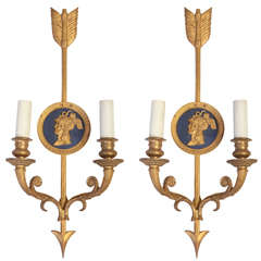 Set Of Four Bronze Two Light Neoclassical Wall Sconces