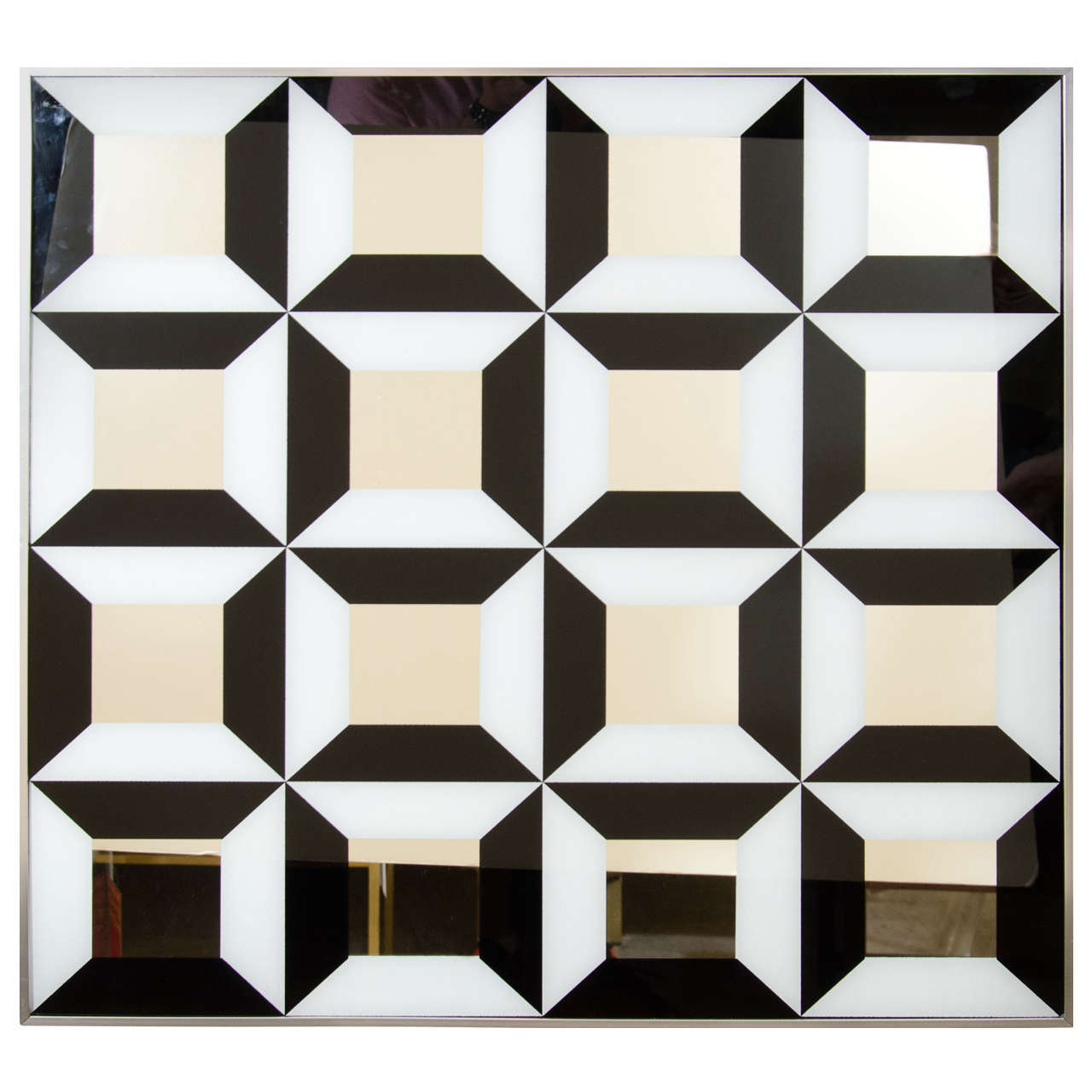 Black and White Op Art Mirror