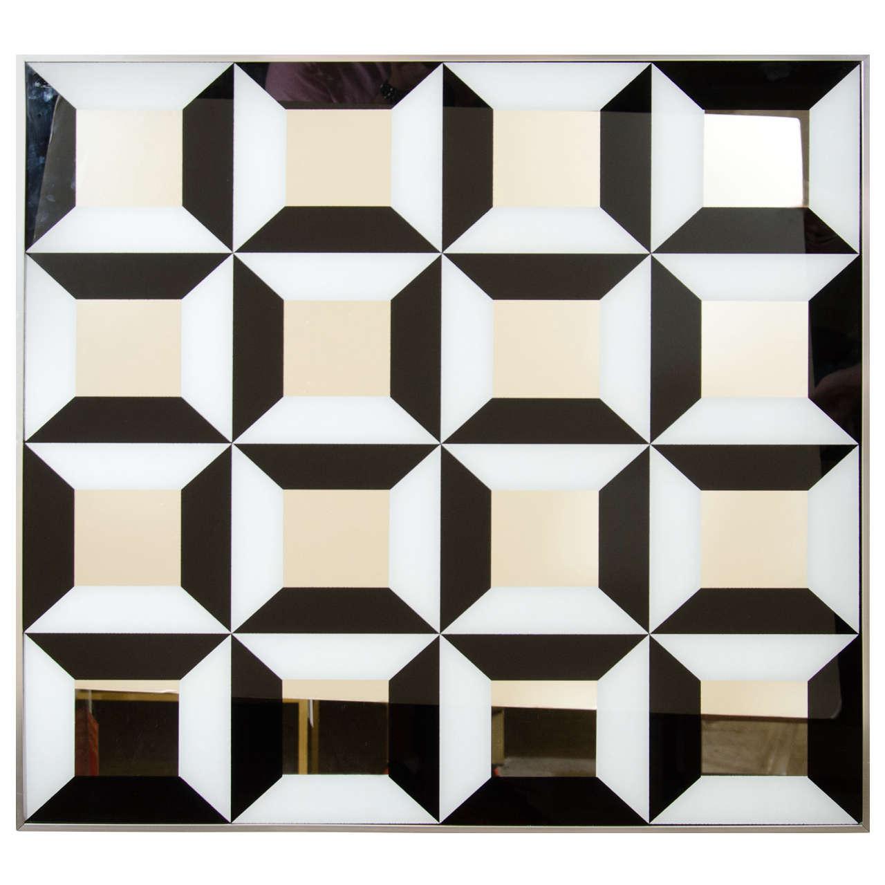 black and white op art mirror at 1stdibs. Black Bedroom Furniture Sets. Home Design Ideas