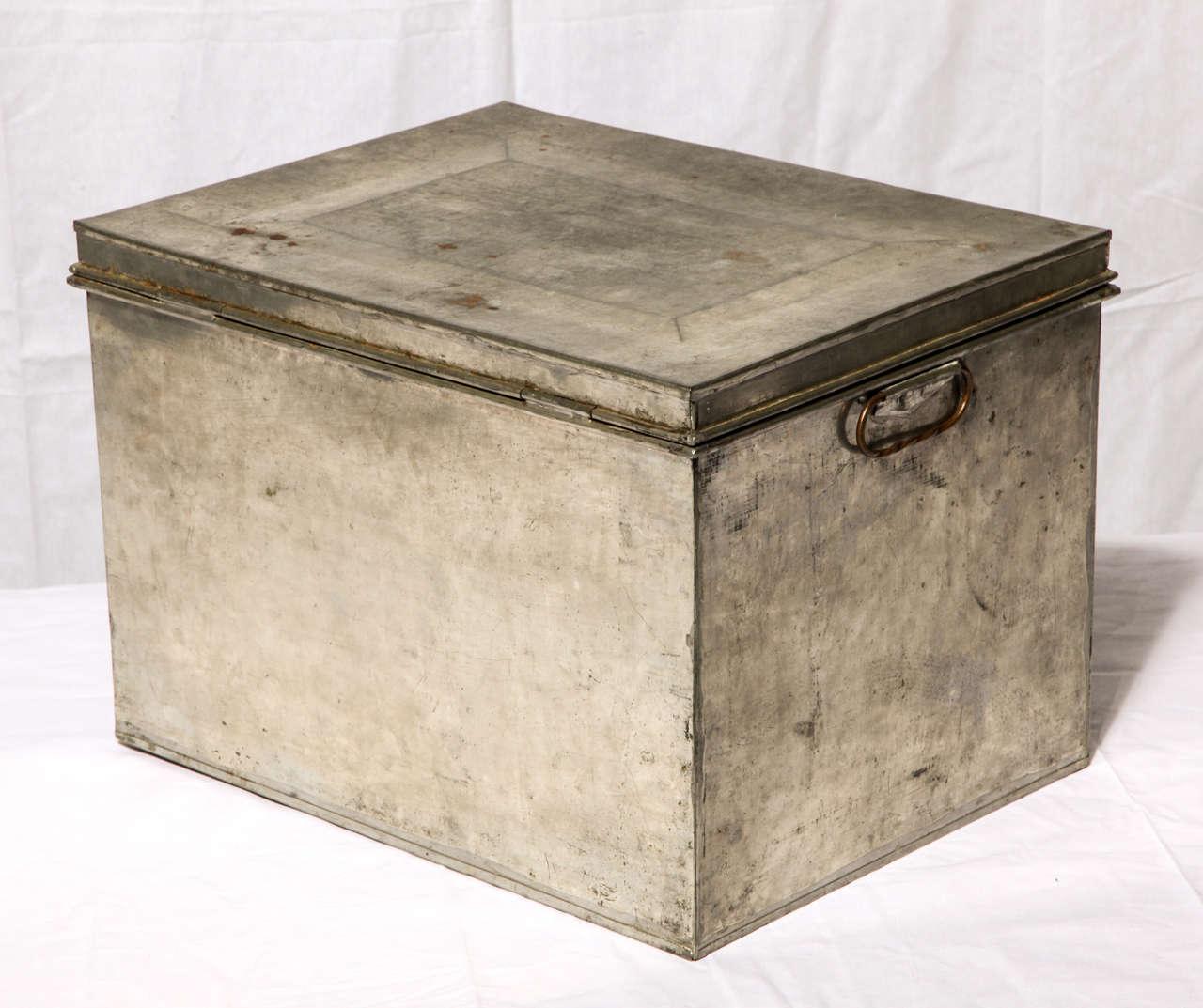 Antique metal banker box at 1stdibs