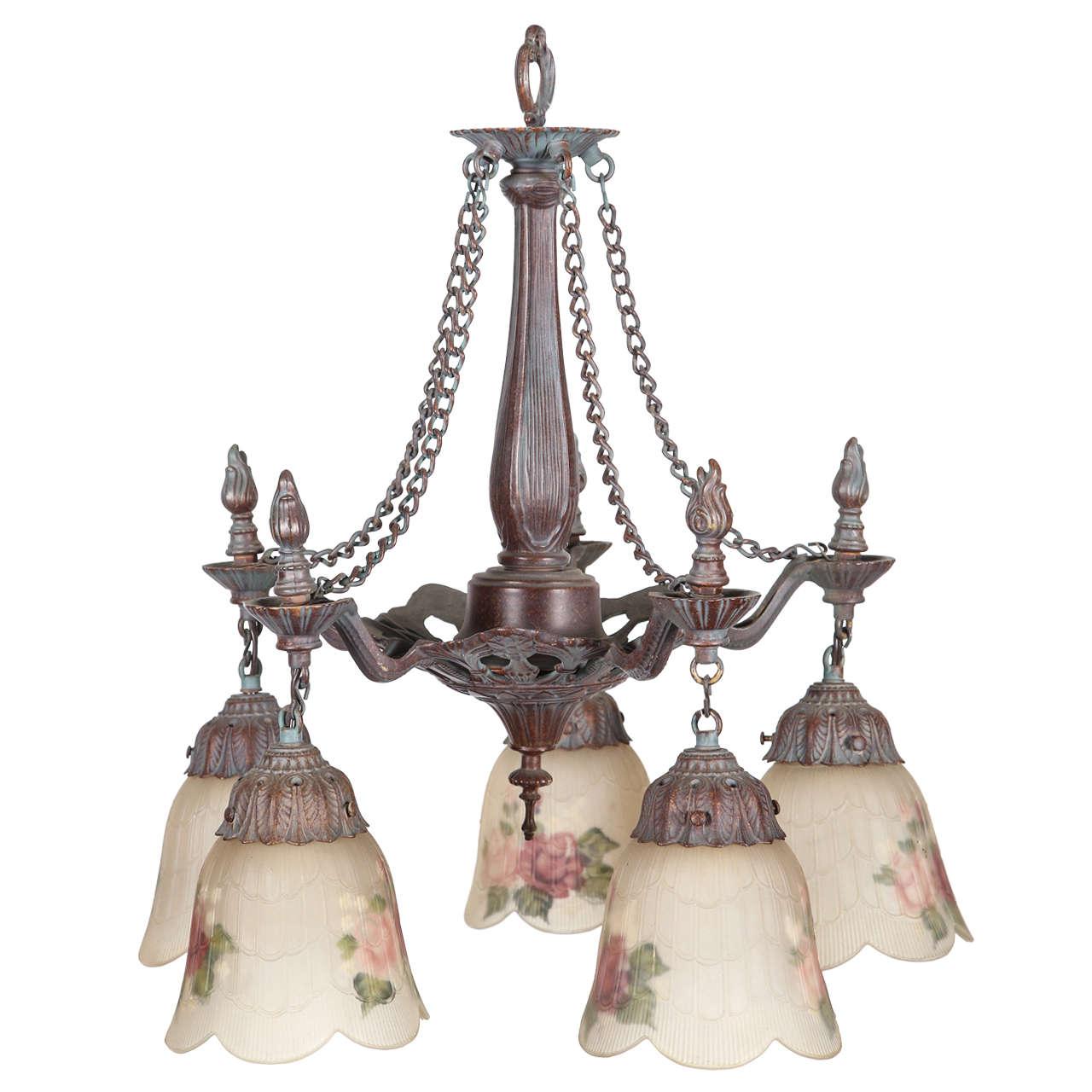 Nickle plated art nouveau five light chandelier at 1stdibs for Chandelier art nouveau