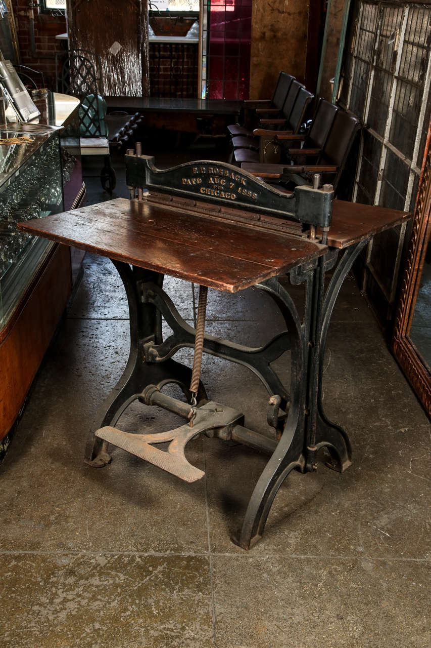 1886 Wood And Cast Iron Paper Cutter By F P Rossback At 1stdibs