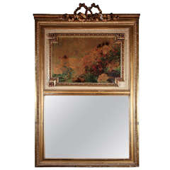 Antique French Trumeau Mirror with Painting and Bronze Trim