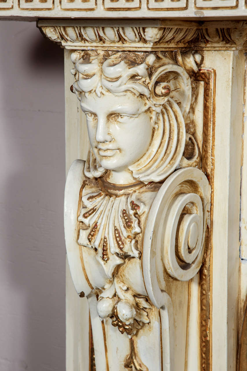 American 1950s Large Figural Greek Revival Wooden Mantel from East 56th St in NYC For Sale
