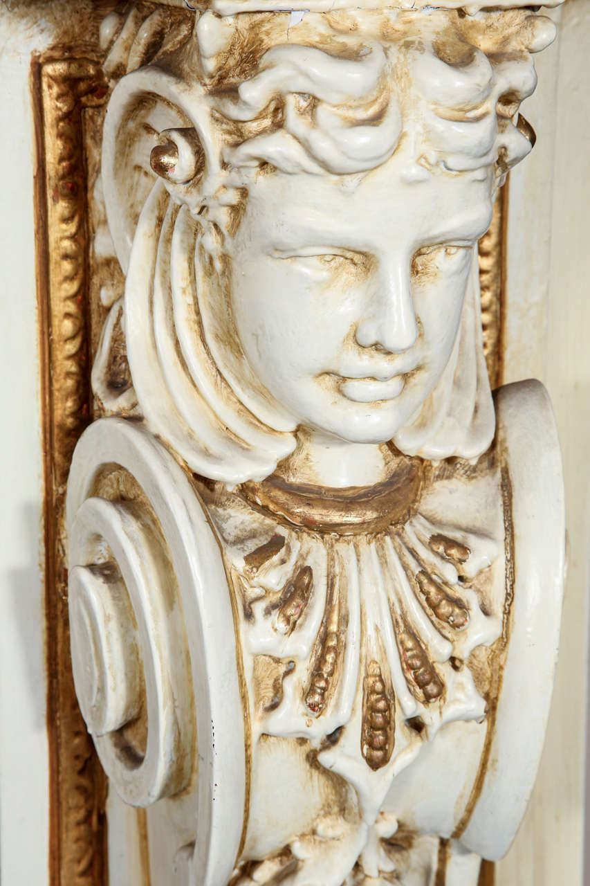 1950s Large Figural Greek Revival Wooden Mantel from East 56th St in NYC For Sale 1