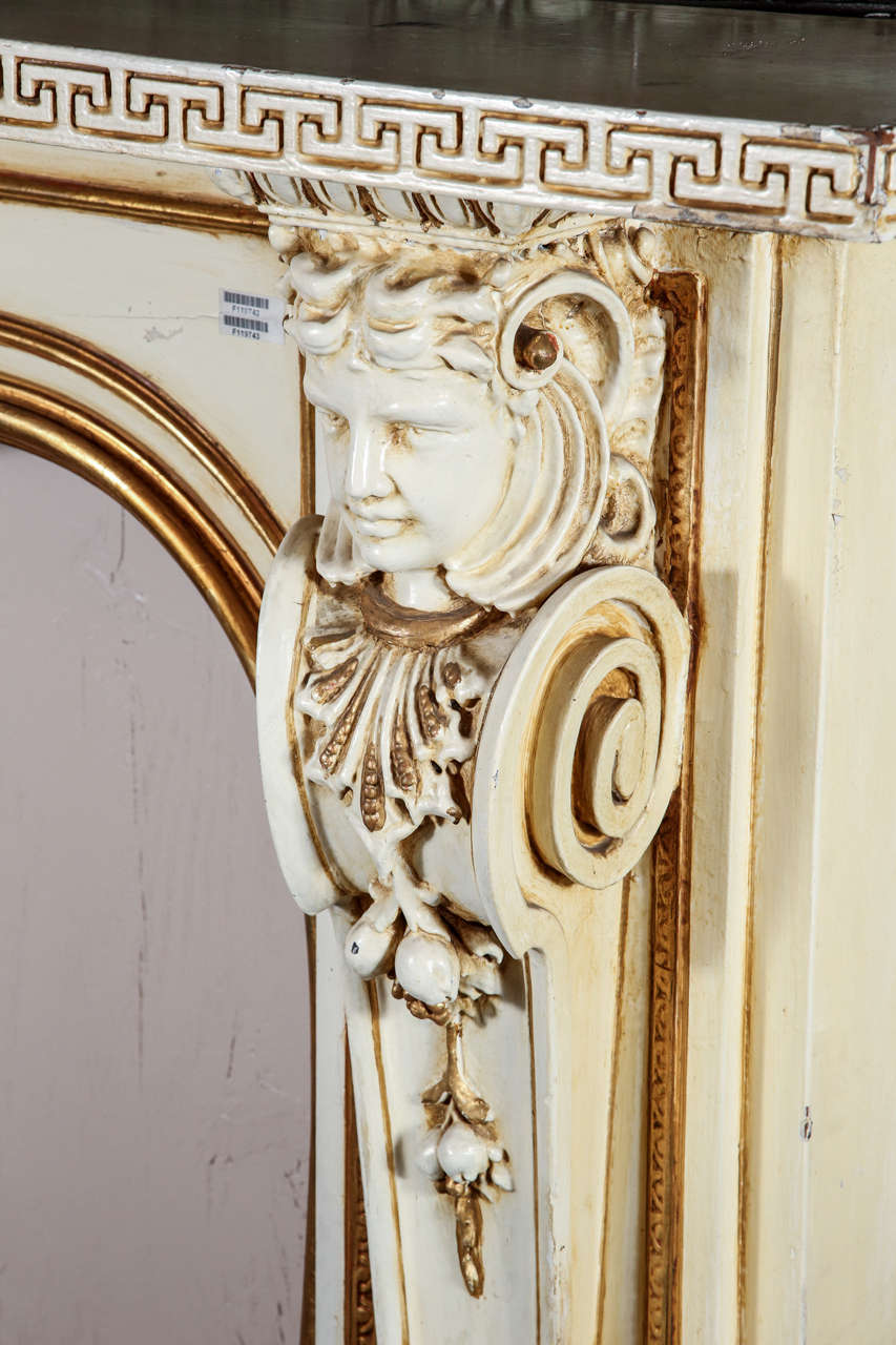 1950s Large Figural Greek Revival Wooden Mantel from East 56th St in NYC For Sale 4