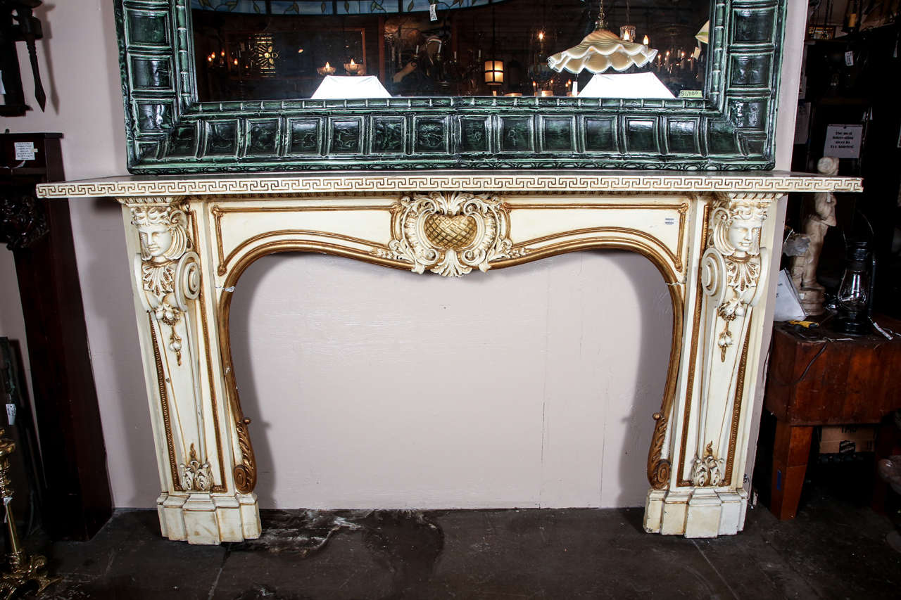 1950s Large Figural Greek Revival Wooden Mantel from East 56th St in NYC For Sale 5