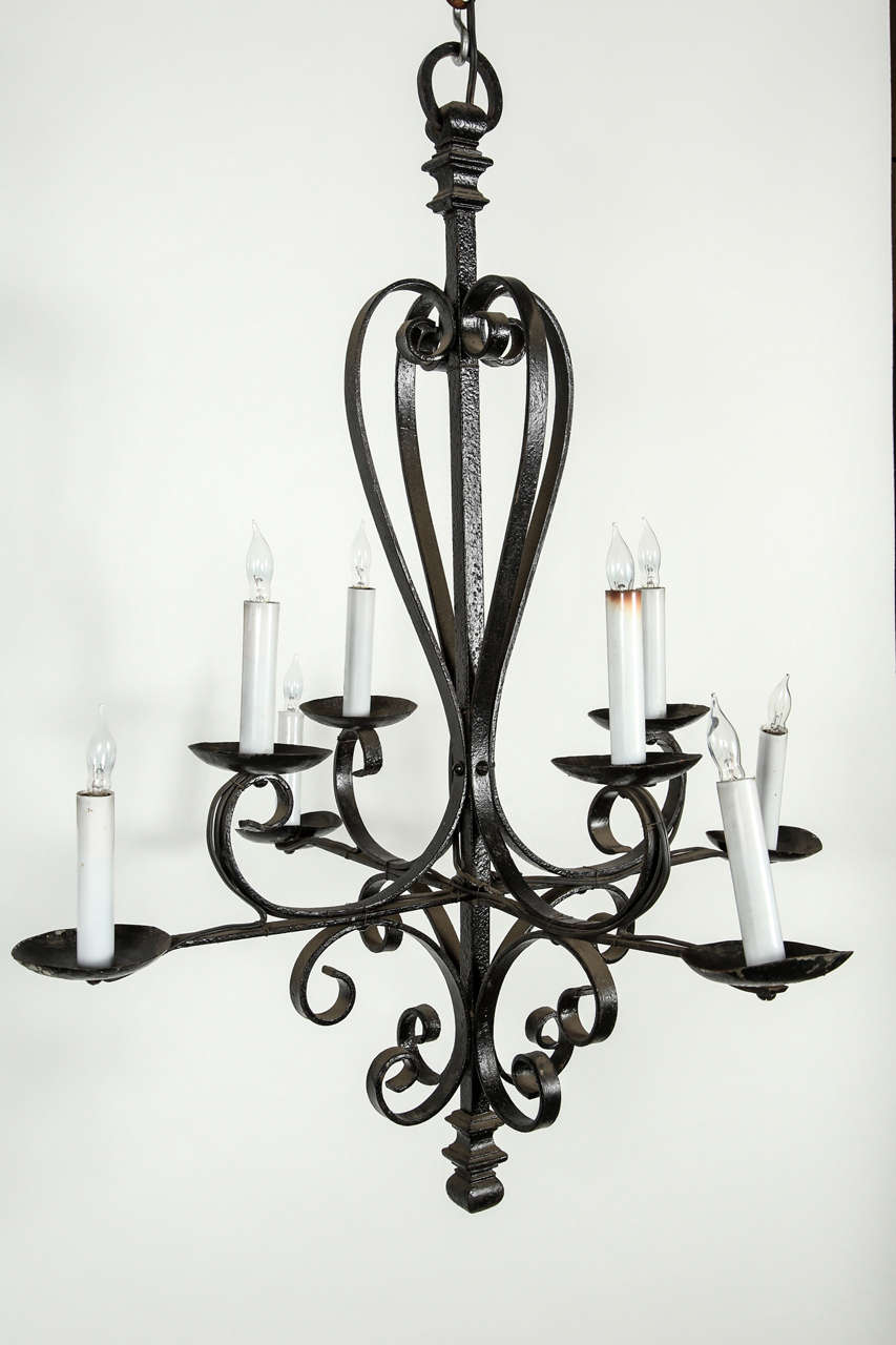 eight candle wrought iron chandelier at 1stdibs