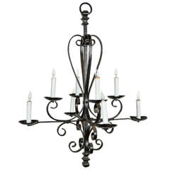 Eight-Candle Wrought Iron Chandelier