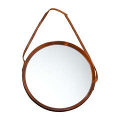 Solid Walnut Mirror with Leather Strap-French