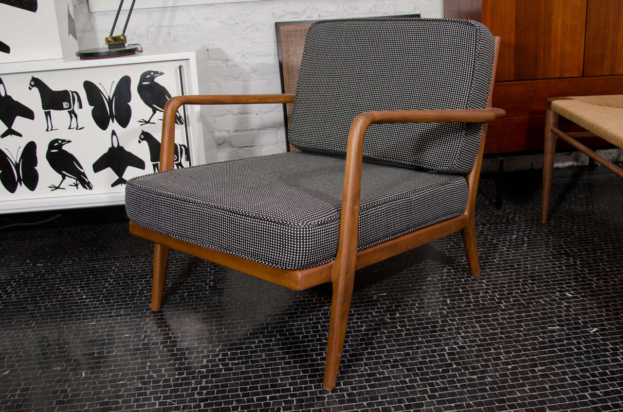 Mid-20th Century Solid walnut, Mel Smilow lounge chair and ottoman For Sale