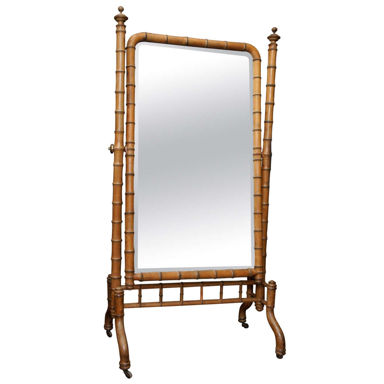 Faux Bamboo New York Psyche Cheval Mirror On Casters At