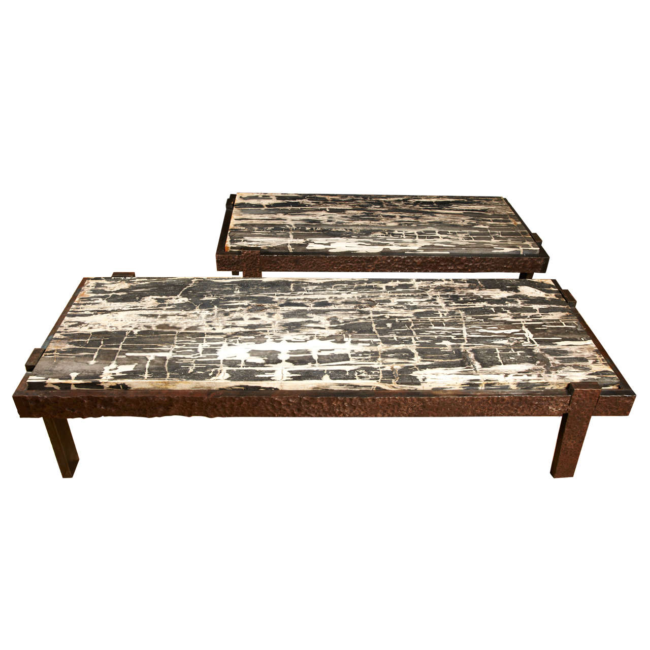 Pair Of Coffee Tables In Petrified Wood And Iron At 1stdibs