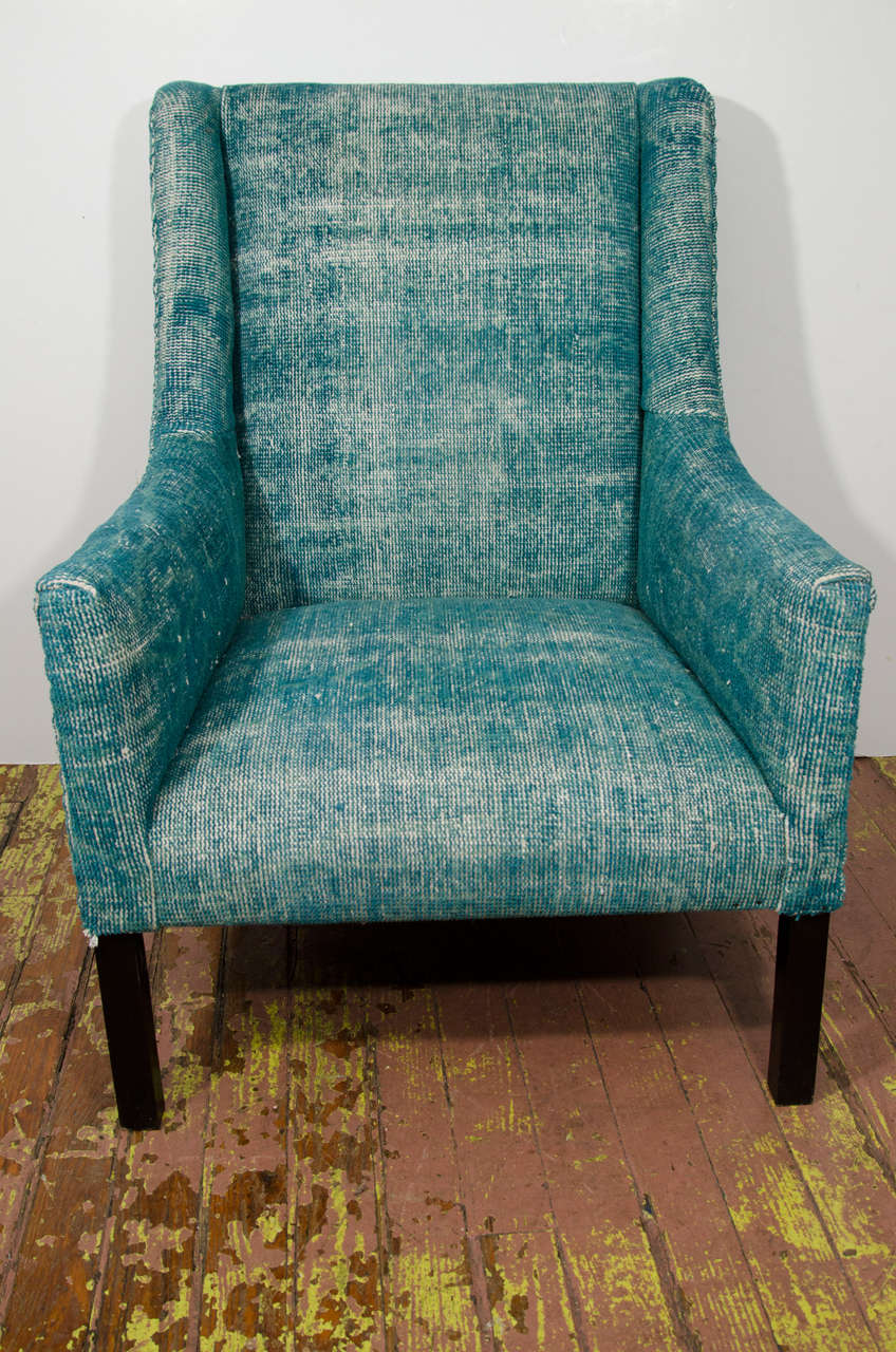 Wooden Arm Chairs In Teal ~ Indian dhurrie upholstered teal arm chair at stdibs