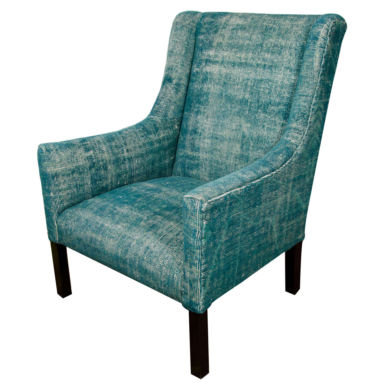 Indian Dhurrie Upholstered Teal Arm Chair at 1stdibs
