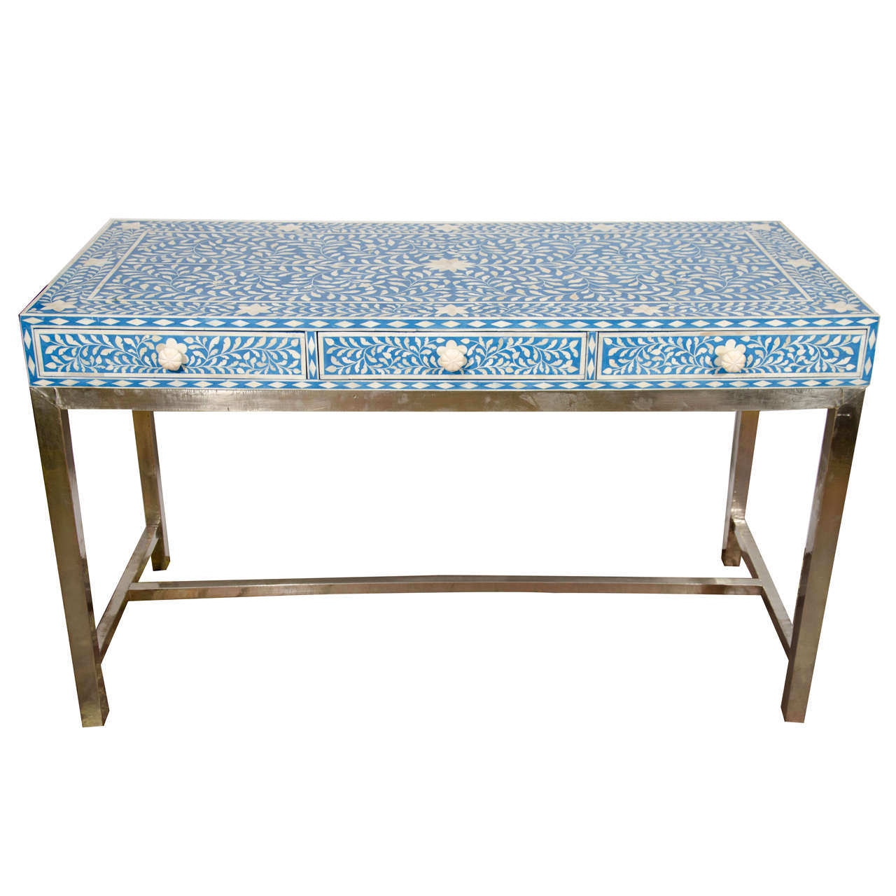Indian Bone Inlay Blue And White Writing Desk With White