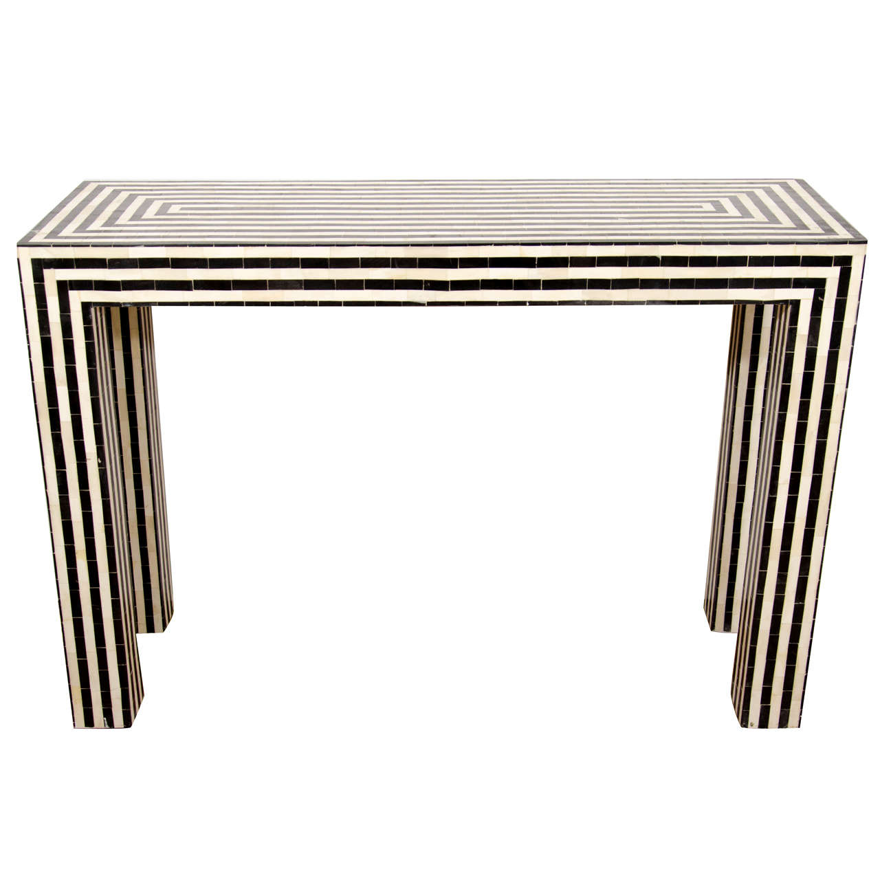 Indian Bone Inlay Black And White Striped Console At 1stdibs