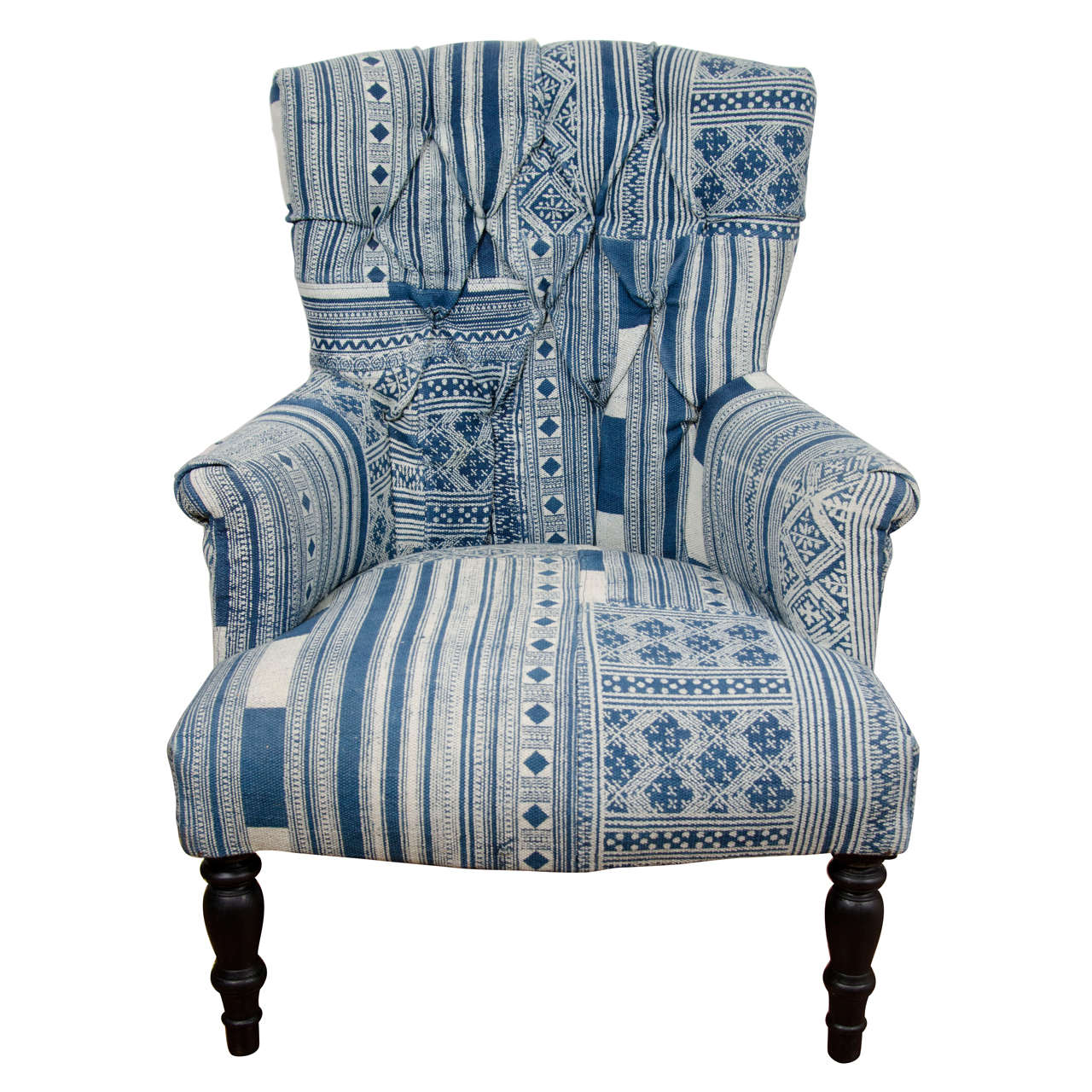 Indian Wood Blue And White Dhurrie Upholstered Arm Chair