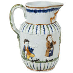 "Antique Prattware Jug ""The Parson, Clerk & Sexton"""