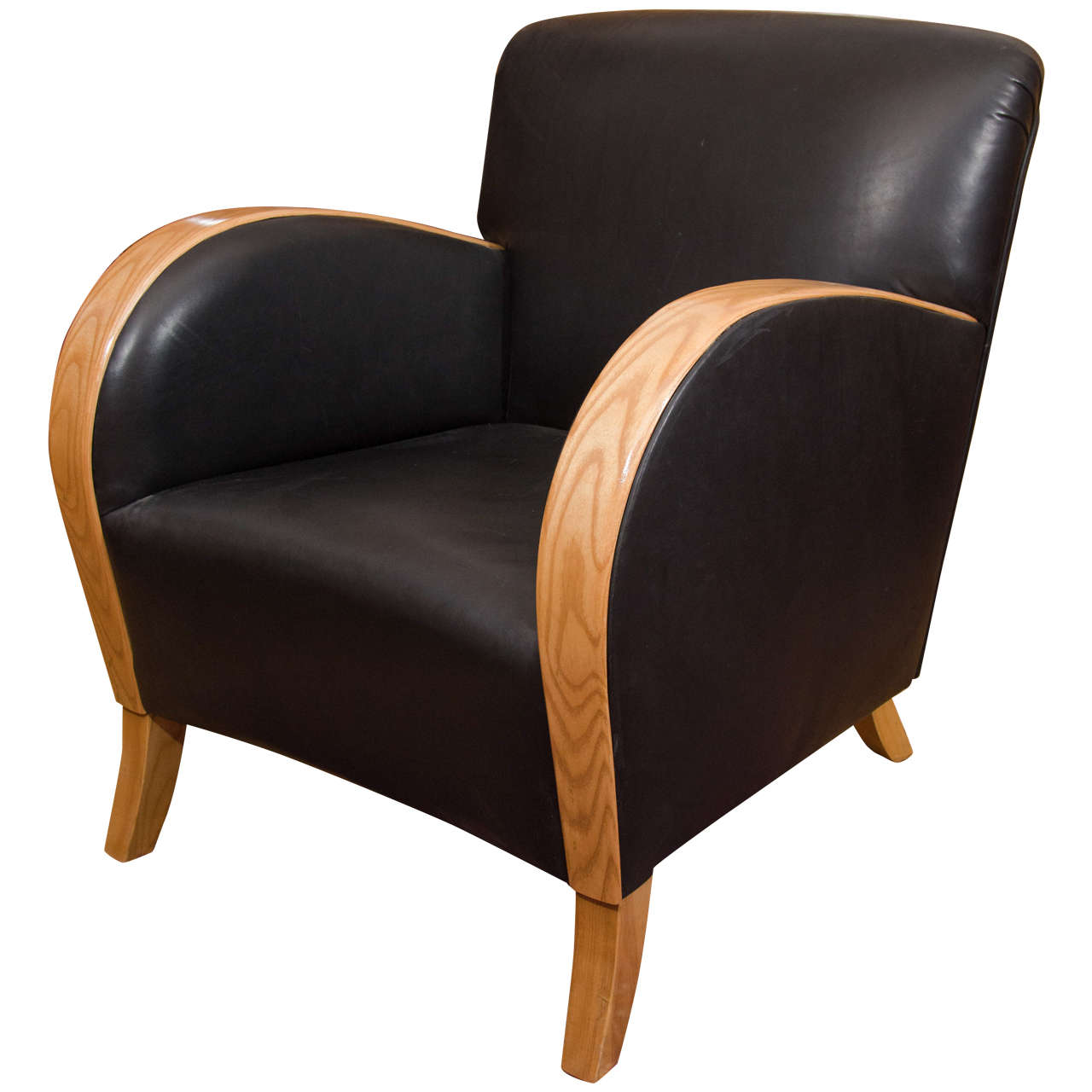 Art Deco Club Chair in Motorcycle Leather