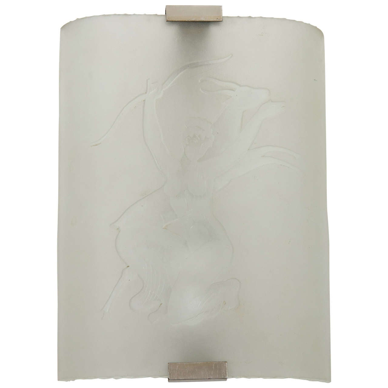 """Frosted Art Deco Orrefors """"Goddess"""" Wall Sconce"""