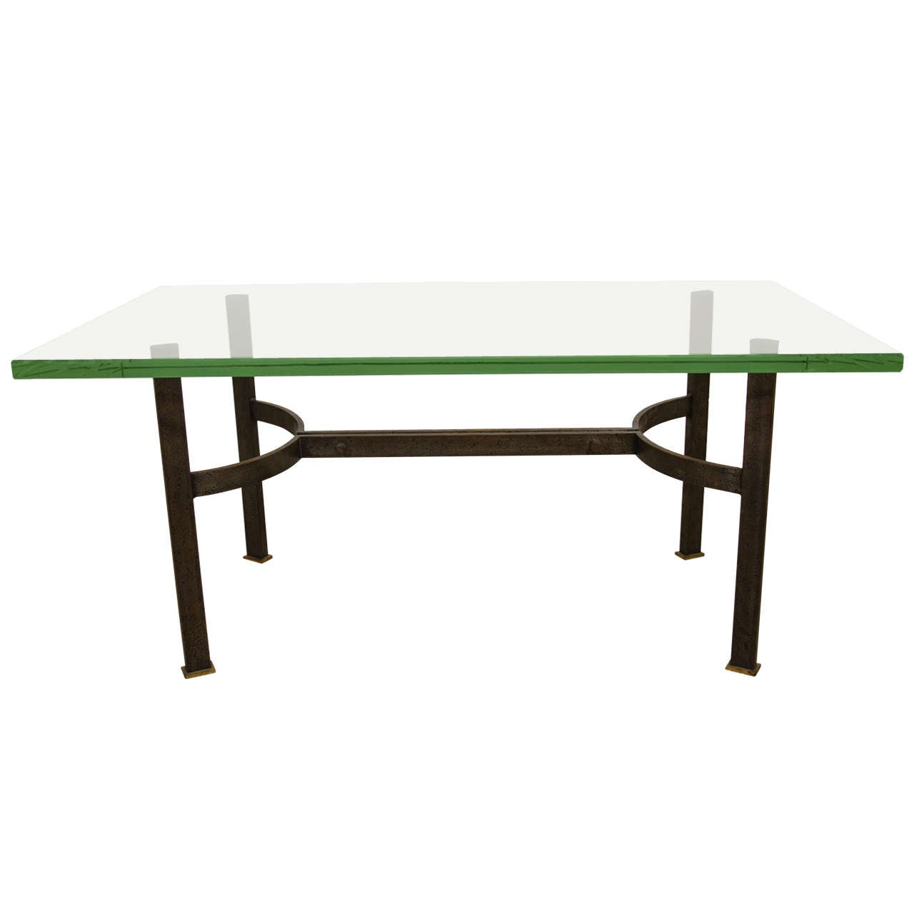 French bronze iron and glass coffee table c 1960 s at for French glass coffee table