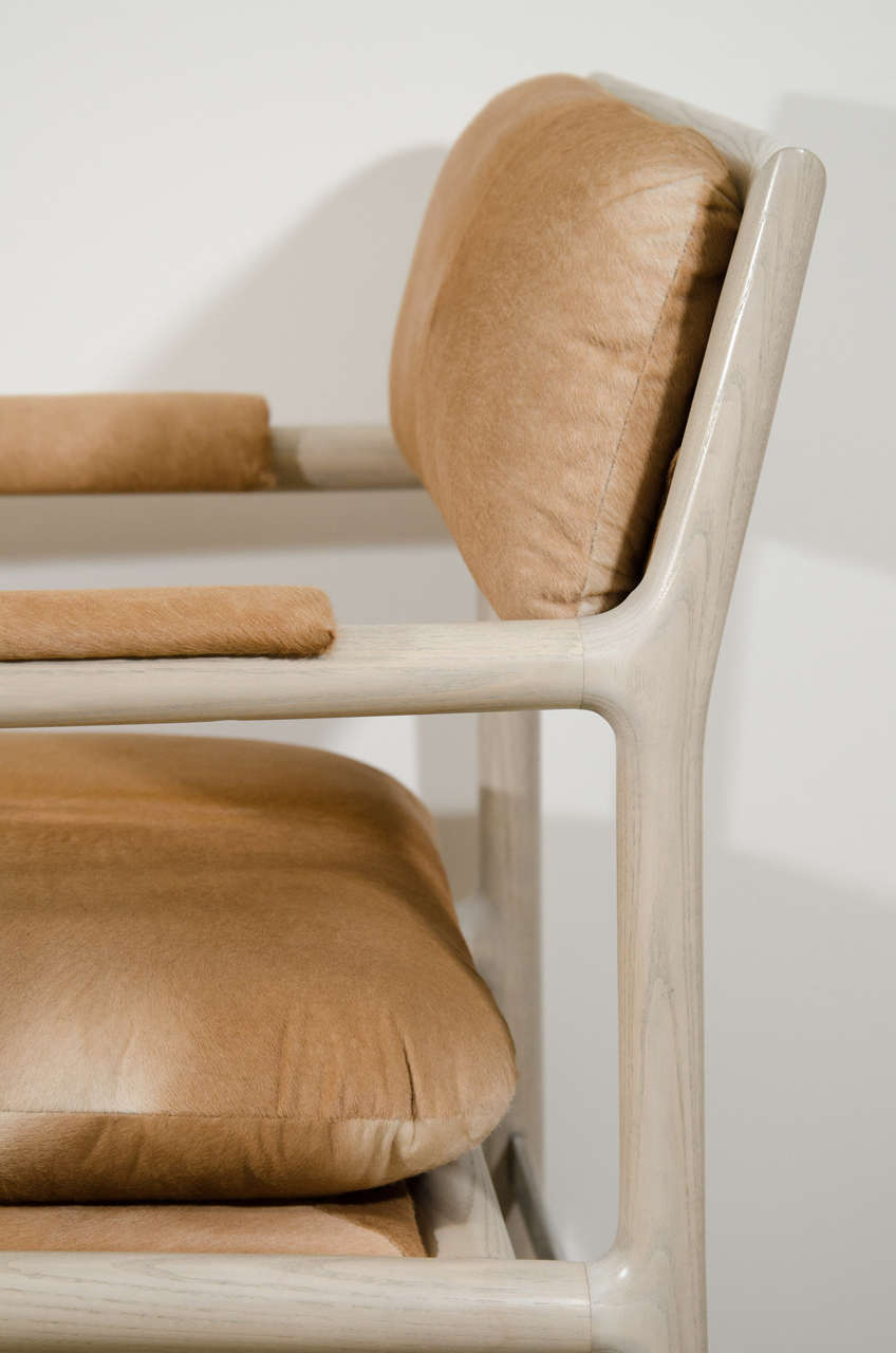 Pair of Edward Wormley for Dunbar Chairs in Cowhide, circa 1960, USA 6