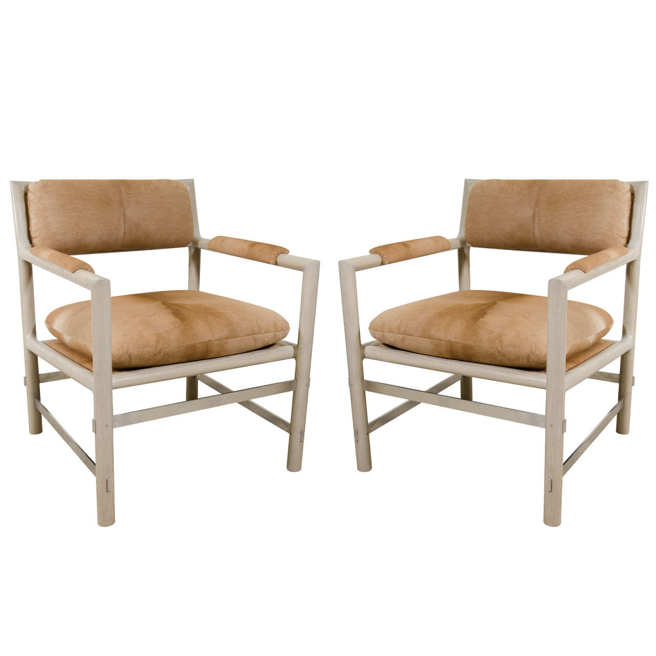 Pair of Edward Wormley for Dunbar Chairs in Cowhide, circa 1960, USA 1