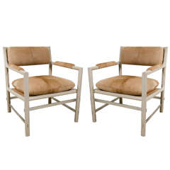 Pair of Edward Wormley for Dunbar Chairs in Cowhide, circa 1960, USA