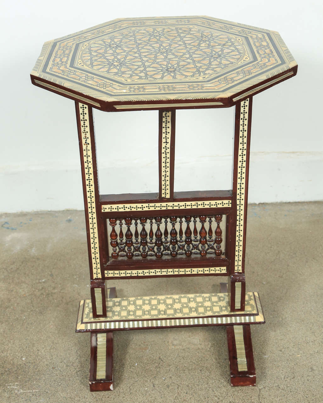 Egyptian Octagonal Side Table, Marquetry Inlaid With Detail Fret Work In  The Bottom. Tilt