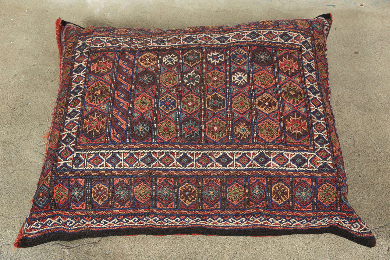 Turkish Tribal Kilim Floor Pillow For Sale at 1stdibs