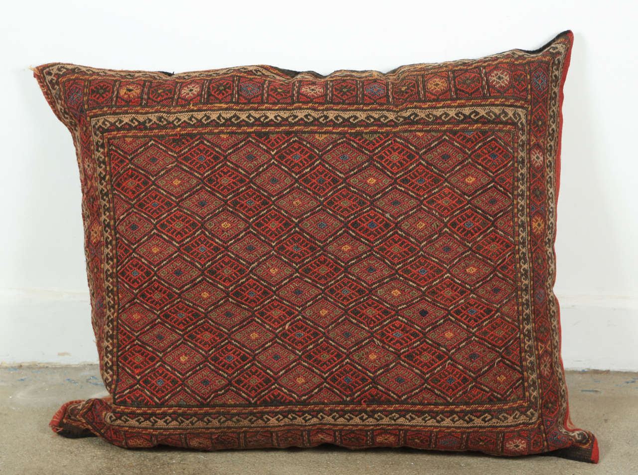 Turkish Kilim Floor Pillow : Middle Eastern Turkish Tribal Kilim Floor Pillow at 1stdibs