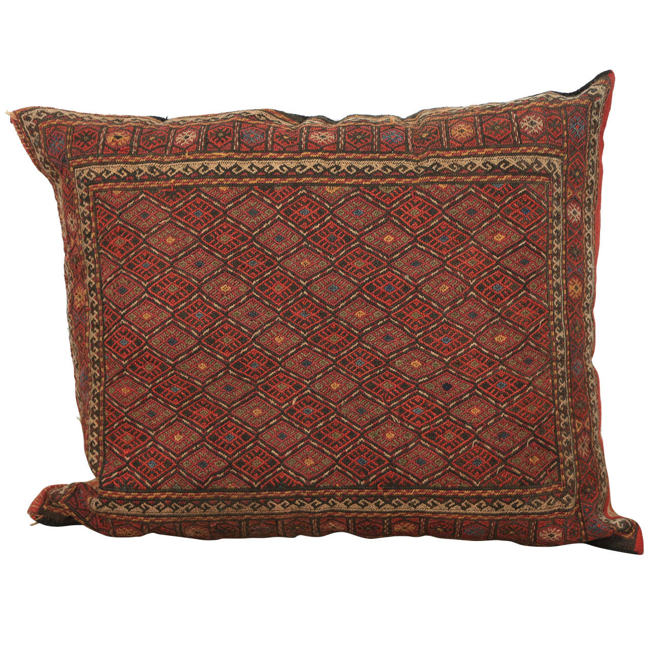 Middle Eastern Turkish Tribal Kilim Floor Pillow For Sale at 1stdibs