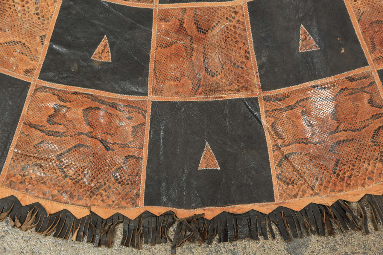 Leather And Snake Skin Round African Tribal Rug At 1stdibs