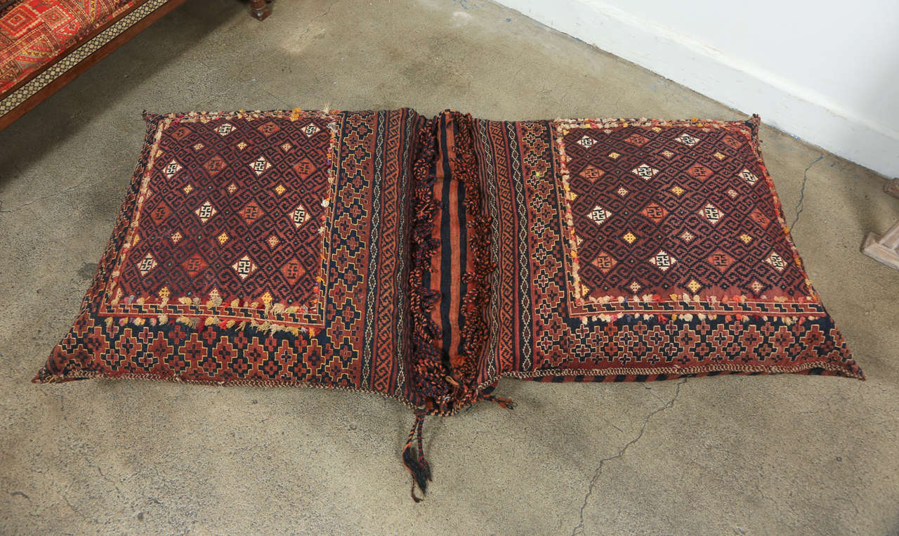 Antique Persian Double Floor Pillow Rug at 1stdibs