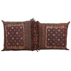 Antique Persian Double Floor Pillow Rug