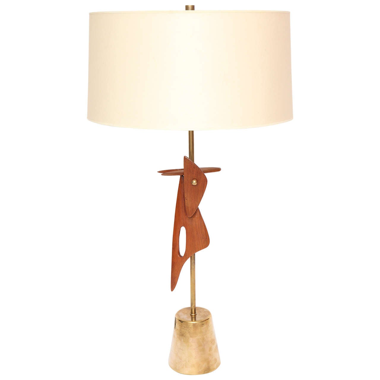 1950s Sculptural Amorphic Wood and Brass Table Lamp For Sale