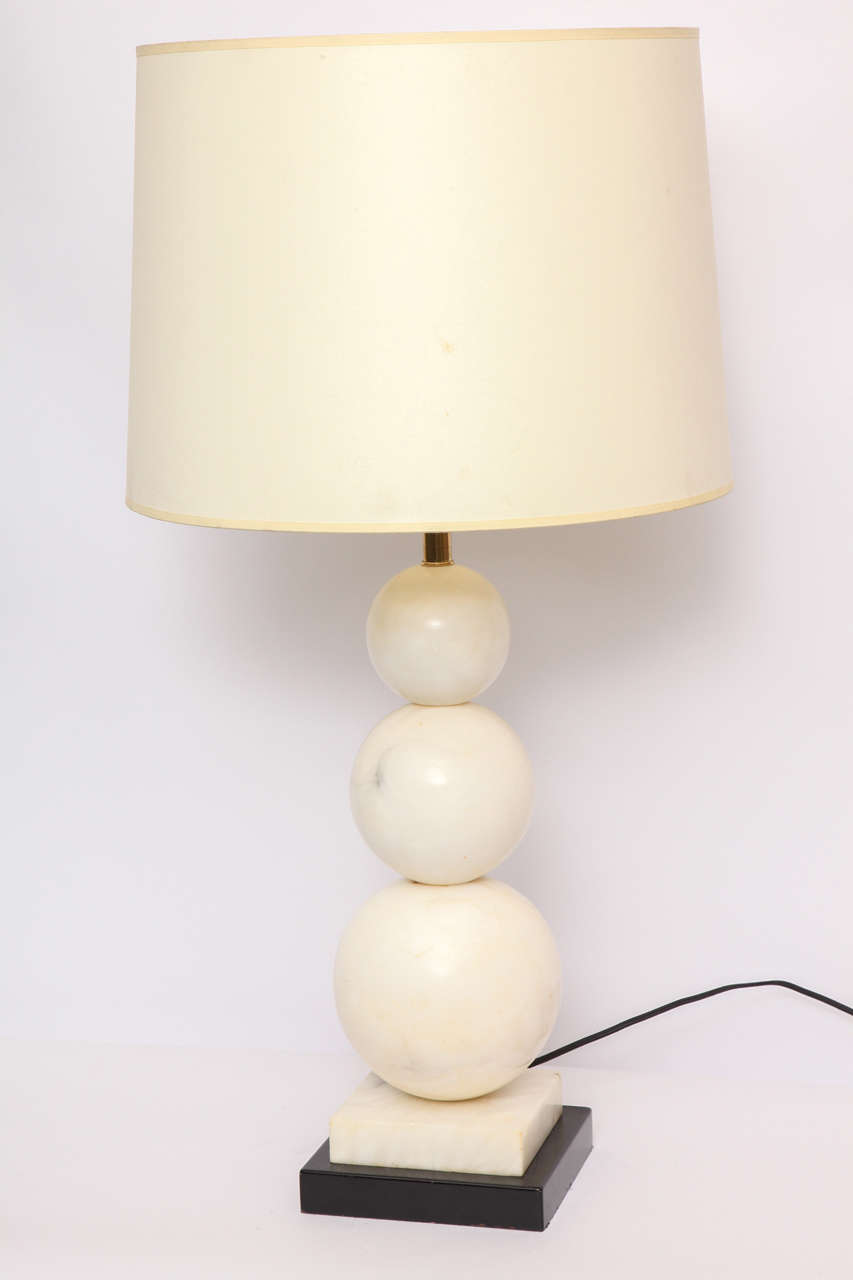 Table lamp Mid-Century Modern marble cubist spheres, Italy, 1940s New sockets and rewired Shade not included.