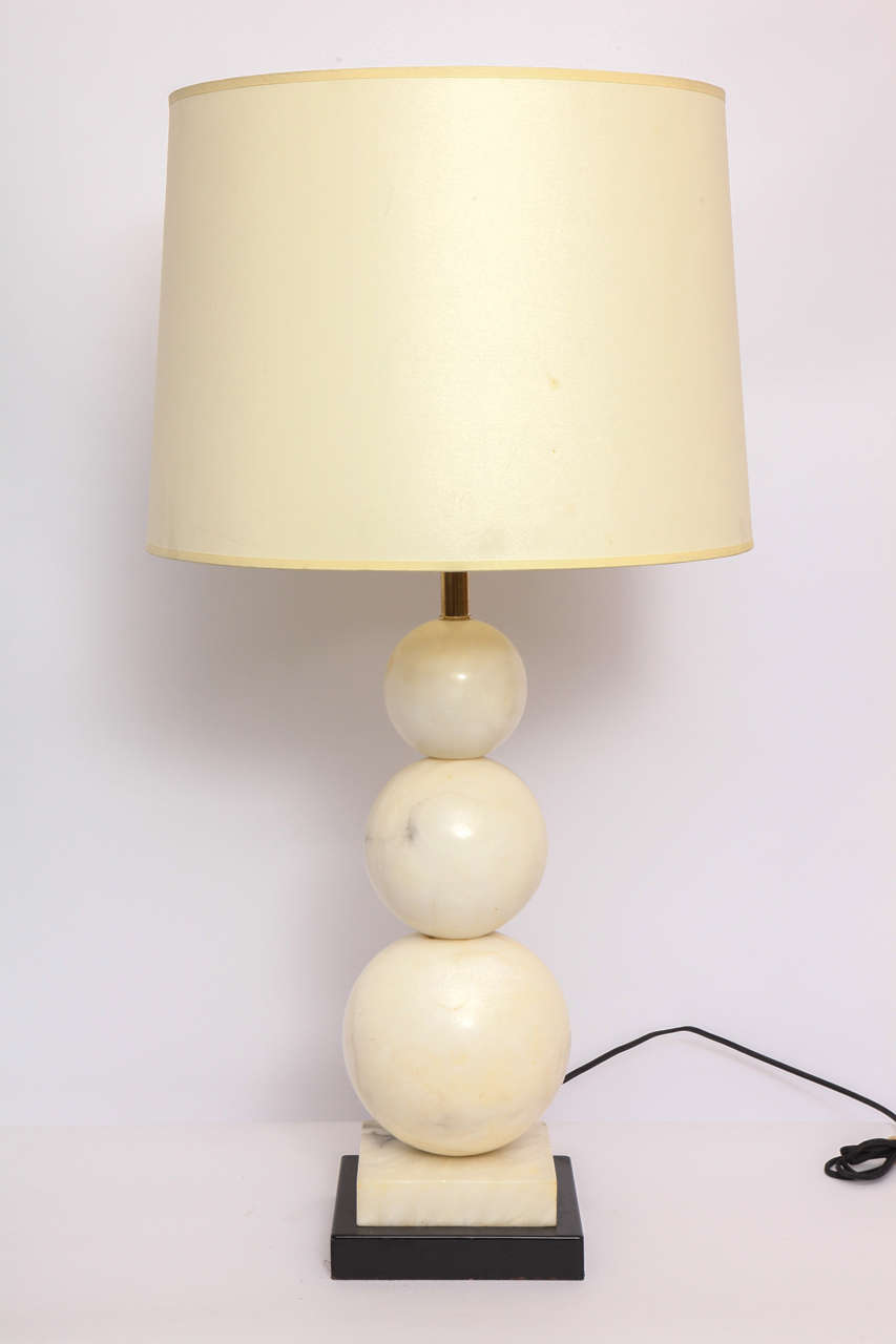 Painted Table Lamp Mid-Century Modern Marble Cubist Spheres, Italy, 1940s For Sale