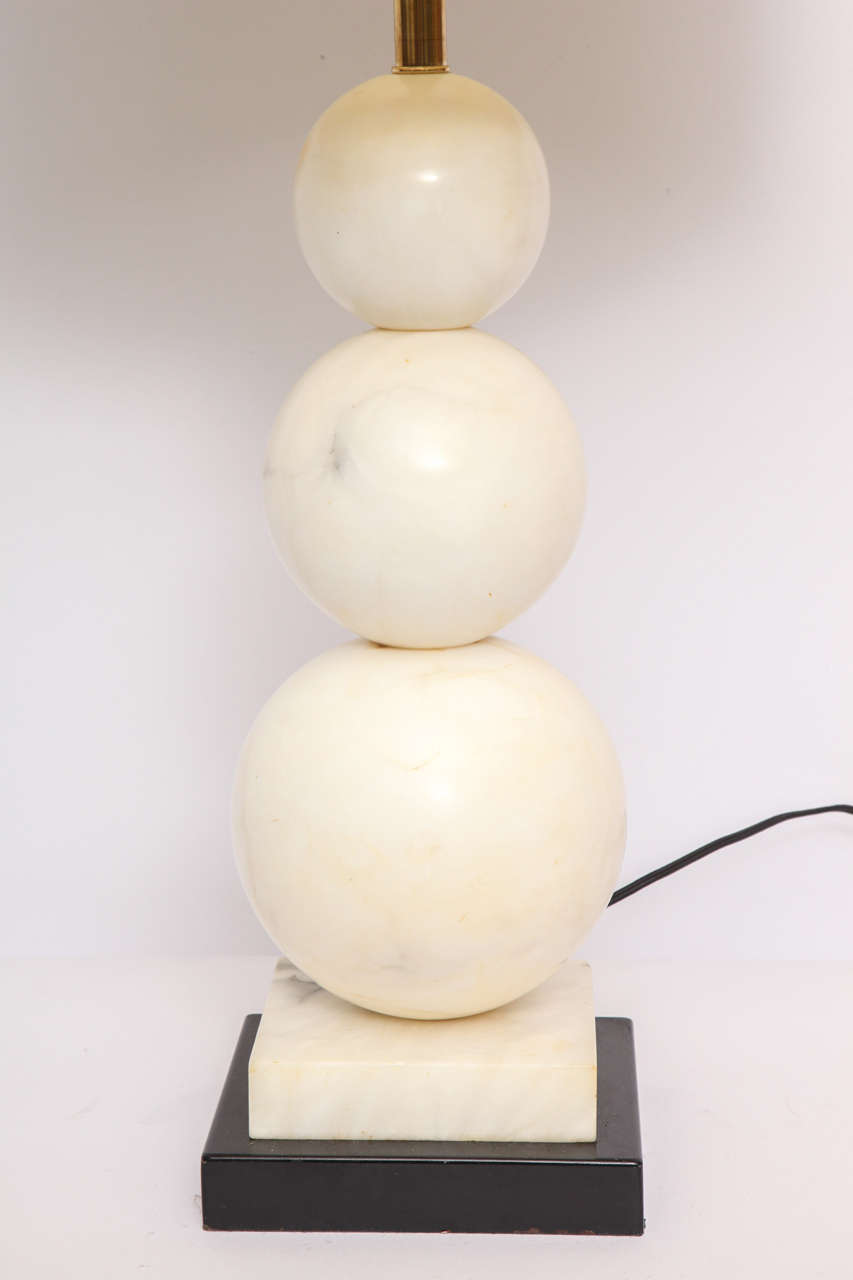 Metal Table Lamp Mid-Century Modern Marble Cubist Spheres, Italy, 1940s For Sale