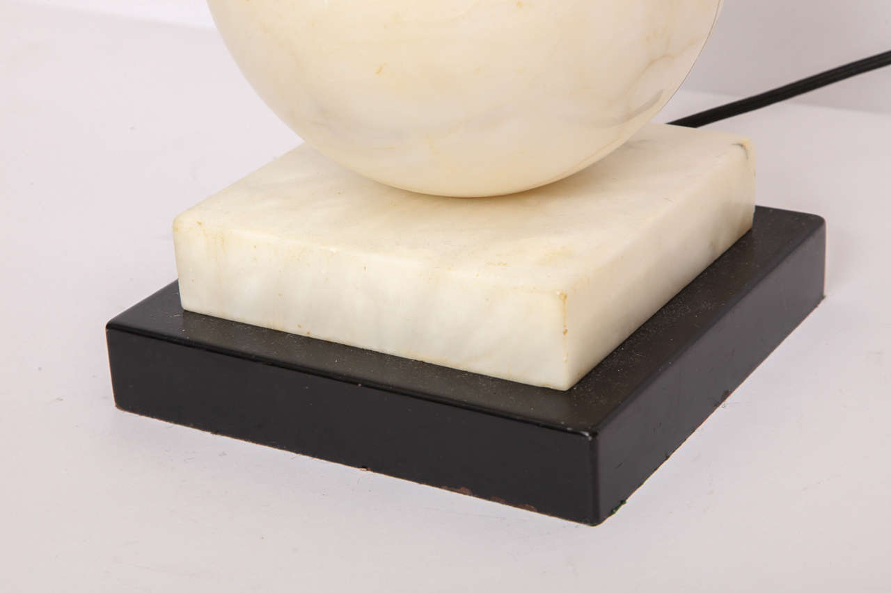 Table Lamp Mid-Century Modern Marble Cubist Spheres, Italy, 1940s In Good Condition For Sale In New York, NY